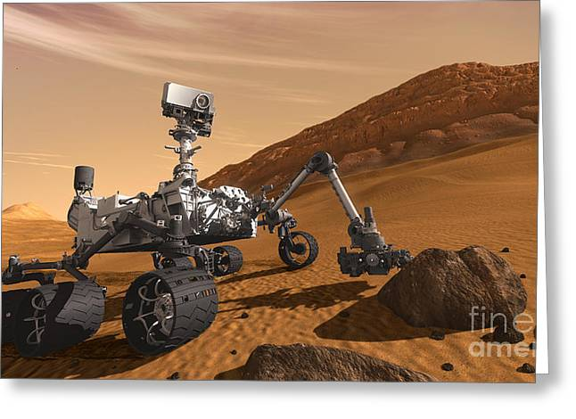 Robotic Greeting Cards - Mars Rover Curiosity, Artists Rendering Greeting Card by NASA/Science Source