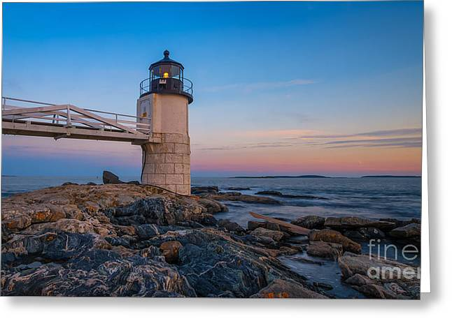 Sailboats In Water Greeting Cards - Marshall Point Lighthouse Sunset Greeting Card by Michael Ver Sprill