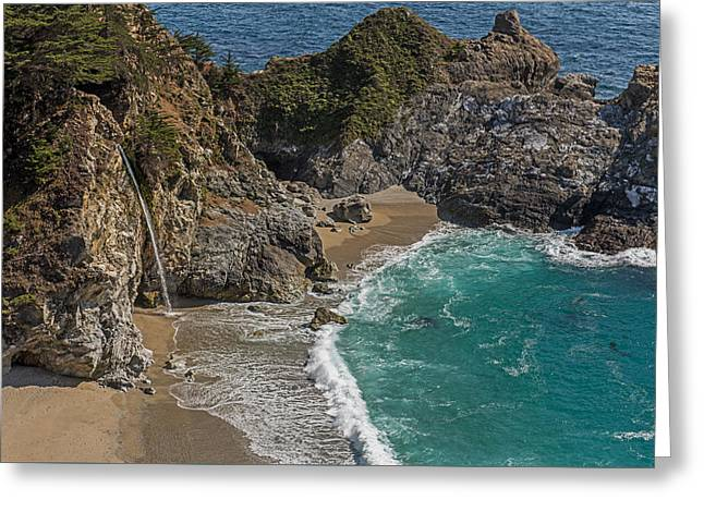 Big Sur Ca Greeting Cards - McWay Falls  Pacific Coast Highway   California Greeting Card by Willie Harper