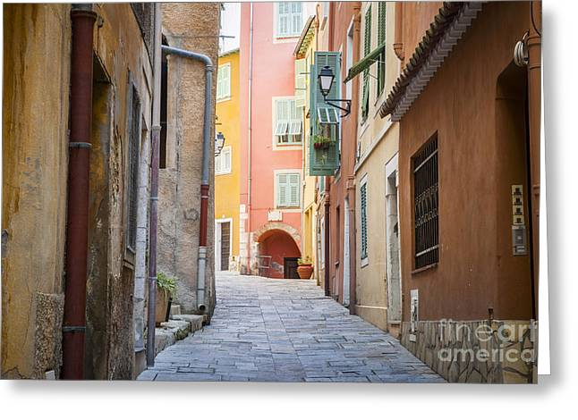 Emerald Coast Greeting Cards - Medieval street in Villefranche-sur-Mer Greeting Card by Elena Elisseeva