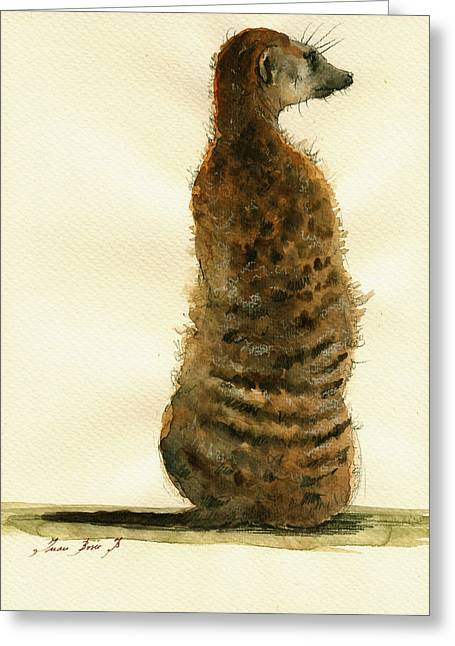 Art Decor Greeting Cards - Meerkat or Suricate painting Greeting Card by Juan  Bosco