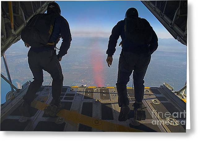 Recently Sold -  - Flying Frog Greeting Cards - Members Of The U.s. Navy Parachute Team Greeting Card by Stocktrek Images