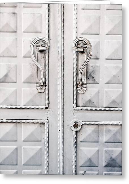 Metal Door Greeting Card by Tom Gowanlock