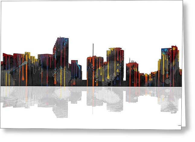 Popular Art Greeting Cards - Miami Florida Skyline Greeting Card by Marlene Watson