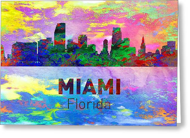 Seattle Skyline Greeting Cards Greeting Cards - Miami Skyline - Usa City Greeting Card by Michael Vicin