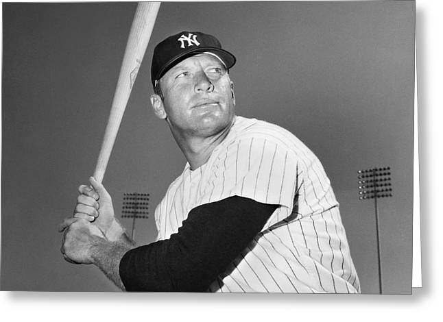 Pinstripes Greeting Cards - Mickey Mantle (1931-1995) Greeting Card by Granger