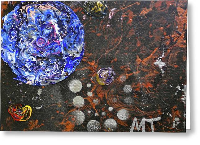 Terrene Paintings Greeting Cards - Midnight Transit Planet Greeting Card by Dylan Chambers