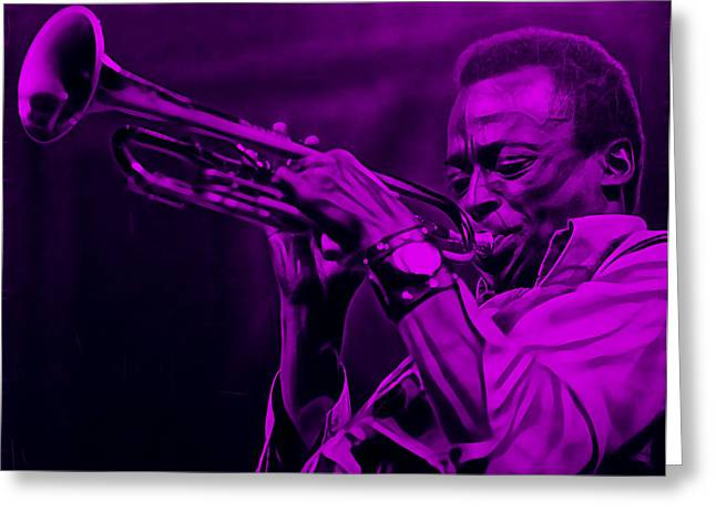 Trumpet Greeting Cards - Miles Davis Collection Greeting Card by Marvin Blaine