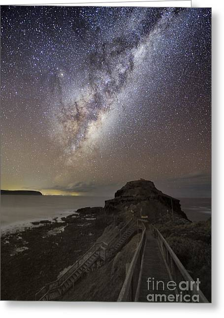 Moonlit Night Greeting Cards - Milky Way Over Cape Schanck, Australia Greeting Card by Alex Cherney, Terrastro