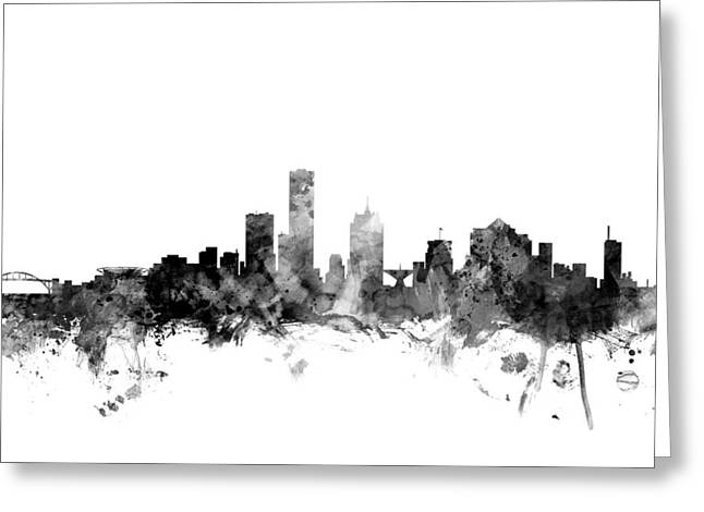 Milwaukee Greeting Cards - Milwaukee Wisconsin Skyline Greeting Card by Michael Tompsett