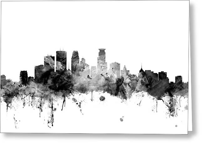 Minneapolis Skyline Greeting Cards - Minneapolis Minnesota Skyline Greeting Card by Michael Tompsett