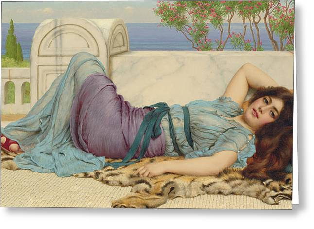 Tiger Skin Rug Greeting Cards - Mischief and Repose Greeting Card by John William Godward