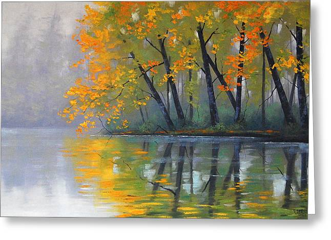 Beautiful Creek Paintings Greeting Cards - Misty Lake Greeting Card by Graham Gercken