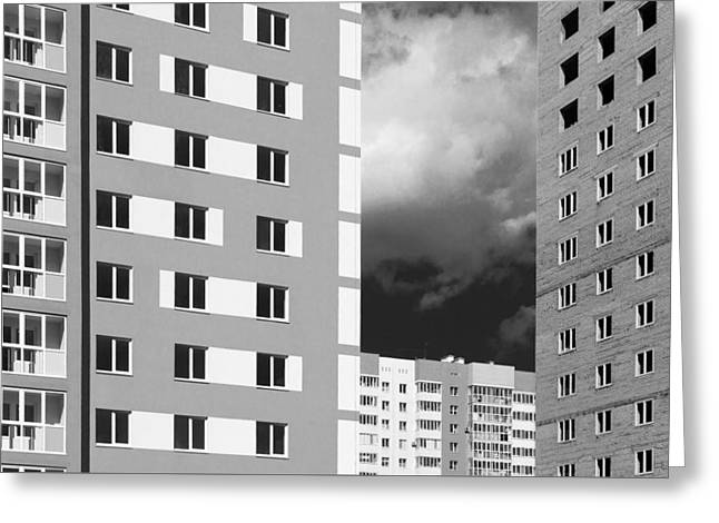 Civilization Greeting Cards - Monochrome Modern Housing Blocks and Brooding Sky Greeting Card by John Williams