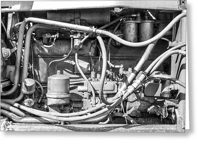 Generators Greeting Cards - Monochrome of an Industrial Machines Engine Compartment Greeting Card by John Williams