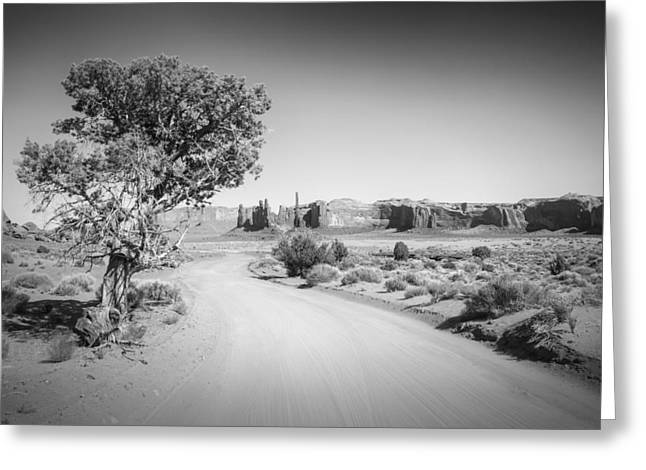 Geologic Greeting Cards - Monument Valley Drive and Totem Pole black and white Greeting Card by Melanie Viola