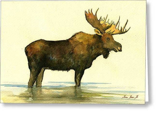 Moose Bull Greeting Cards - Moose watercolor painting. Greeting Card by Juan  Bosco
