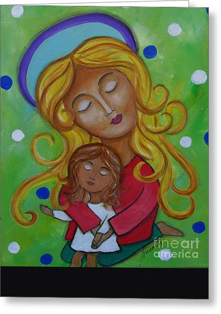 Daughter Gift Greeting Cards - Mother And Child Greeting Card by Pristine Cartera Turkus
