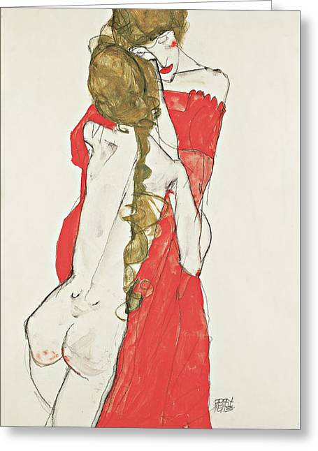 Mother And Daughter Greeting Card by Egon Schiele