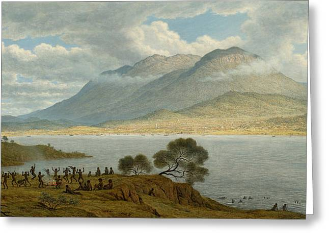 Mount Wellington And Hobart Town From Kangaroo Point Greeting Card by John Glover