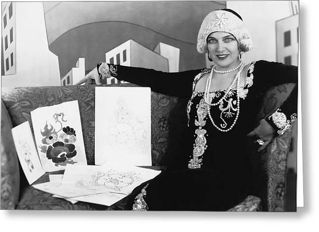 Movie Art Greeting Cards - Movie Star Olga Baclanova Greeting Card by Underwood Archives