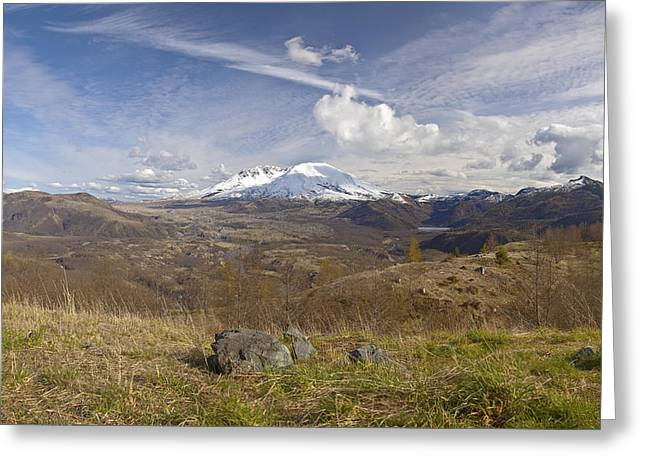 Snow Capped Greeting Cards - Mt. St. Helens panoramic view with dramatic skies. Greeting Card by Gino Rigucci