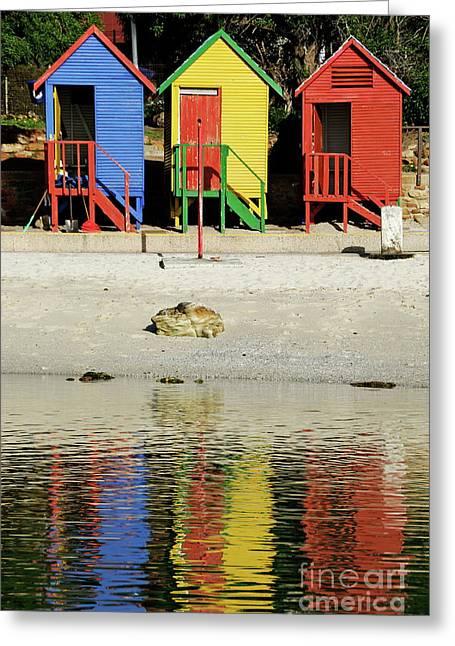 Sami Sarkis Greeting Cards - Multicoloured beach huts on Muizenberg beach Greeting Card by Sami Sarkis