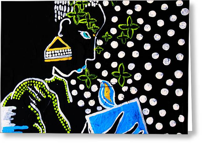 Parable Greeting Cards - Murle South Sudanese Wise Virgin Greeting Card by Gloria Ssali