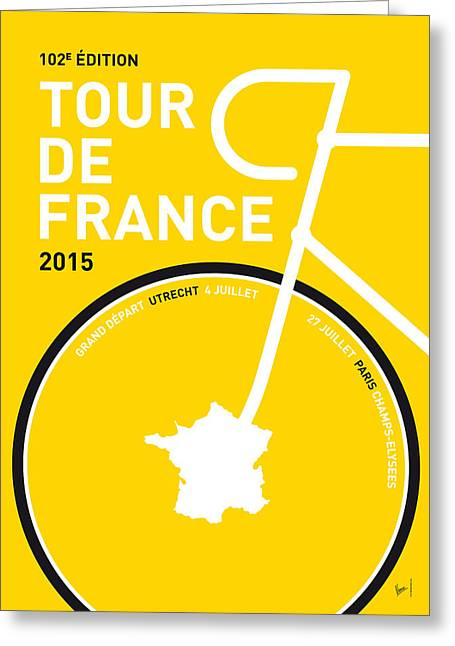 Team Greeting Cards - My Tour De France Minimal Poster Greeting Card by Chungkong Art