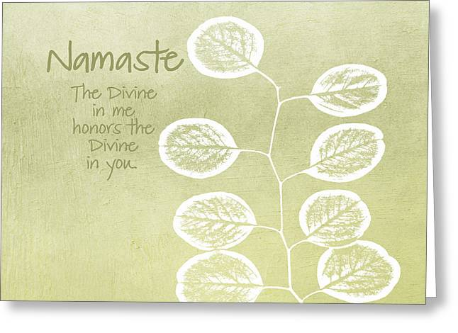 Leafed Greeting Cards - Namaste Greeting Card by Linda Woods