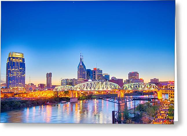 Famous Bridge Greeting Cards - Nashville Tennessee downtown skyline at Shelby Street Bridge Greeting Card by Alexandr Grichenko