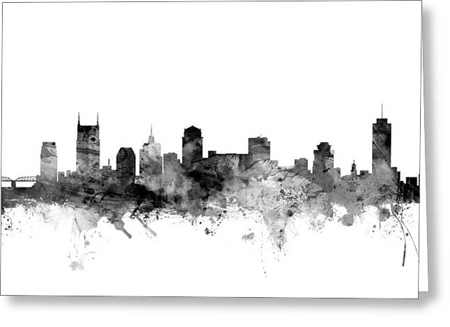 Tennessee Greeting Cards - Nashville Tennessee Skyline Greeting Card by Michael Tompsett
