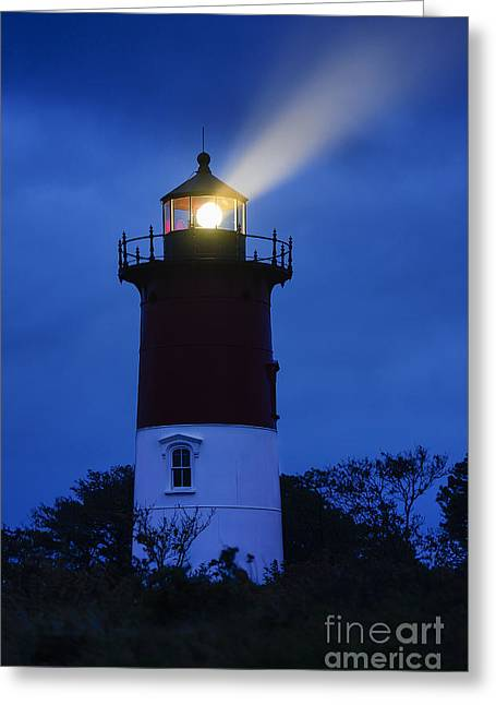Stormy Weather Greeting Cards - Nauset Lighthouse Night Greeting Card by John Greim