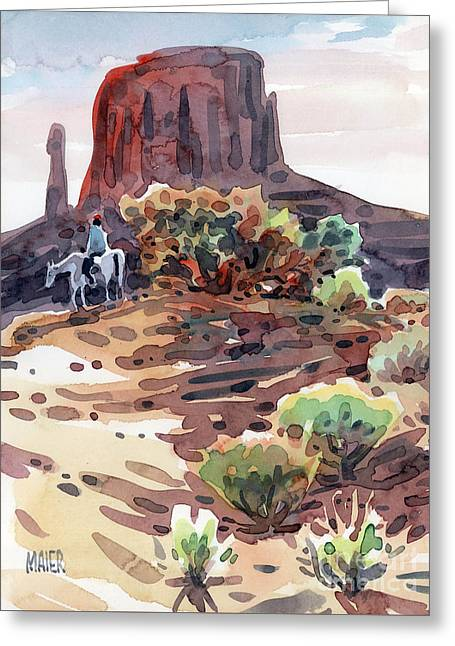 Navajo Greeting Cards - Navajo Rider Greeting Card by Donald Maier