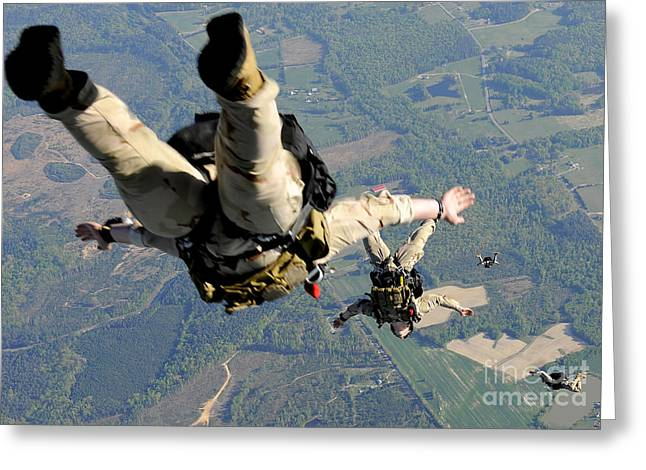 High Altitude Flying Greeting Cards - Navy Seals Jump From The Ramp Of A C-17 Greeting Card by Stocktrek Images