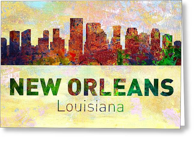 Seattle Skyline Greeting Cards Greeting Cards - New Orleans Skyline - Usa City Greeting Card by Michael Vicin