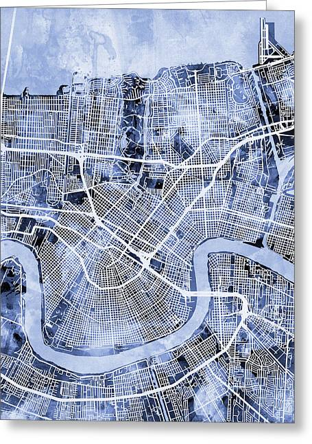Streets Greeting Cards - New Orleans Street Map Greeting Card by Michael Tompsett