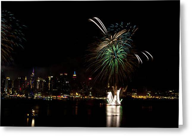 Pyrotechnics Greeting Cards - New York City Fireworks Greeting Card by Anthony Totah
