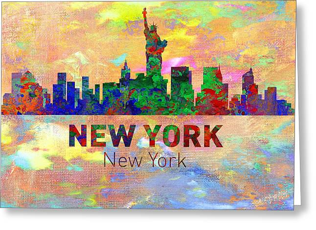 Seattle Skyline Greeting Cards Greeting Cards - New York Skyline - Usa City Greeting Card by Michael Vicin