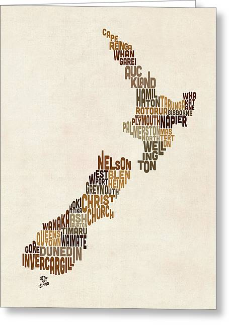 New Zealand Greeting Cards - New Zealand Typography Text Map Greeting Card by Michael Tompsett