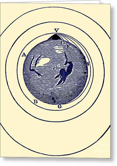 Curvature Greeting Cards - Newtons Projectile, Principia, 1687 Greeting Card by Science Source