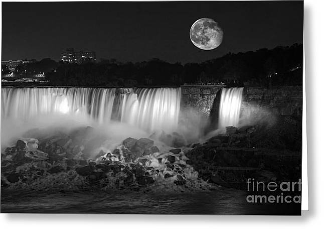 White Photographs Greeting Cards - Super Moon Over the Falls Greeting Card by Charline Xia