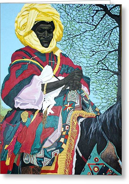Bernard Goodman Greeting Cards - Nigerian On Horseback Greeting Card by Bernard Goodman