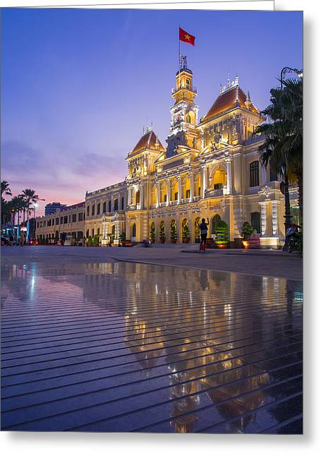 Town Square Greeting Cards - Night scene of Ho Chi Minh City Hall Greeting Card by Huynh Thu
