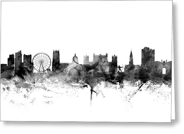 Nottingham Greeting Cards - Nottingham England Skyline Greeting Card by Michael Tompsett