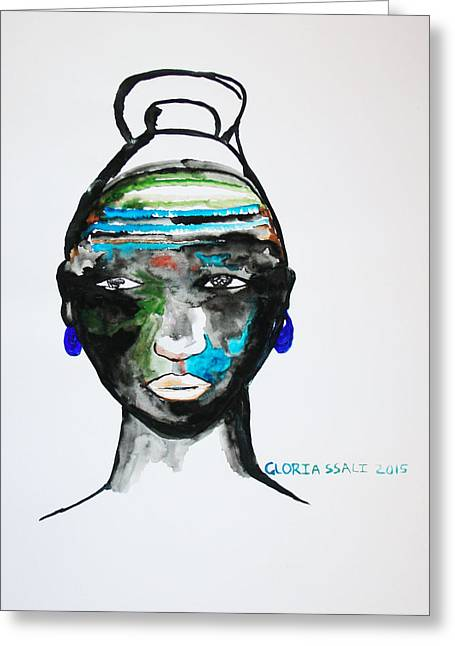 Nuer Bride - South Sudan Greeting Card by Gloria Ssali