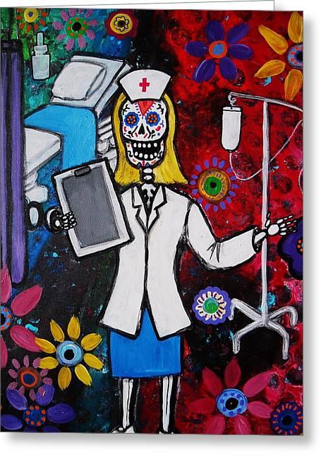 Sementeryo Greeting Cards - Nurse Dia De Los Muertos Greeting Card by Pristine Cartera Turkus