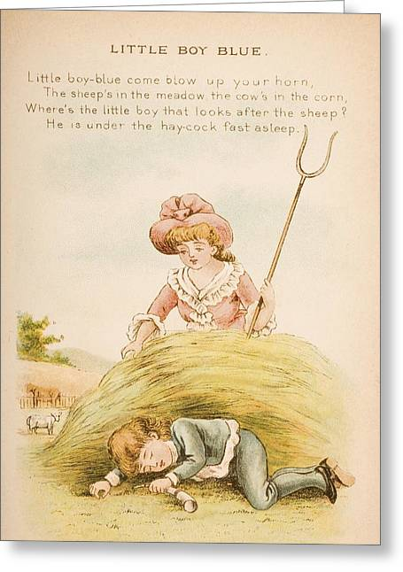 Little Boy Greeting Cards - Nursery Rhyme And Illustration Of Greeting Card by Ken Welsh