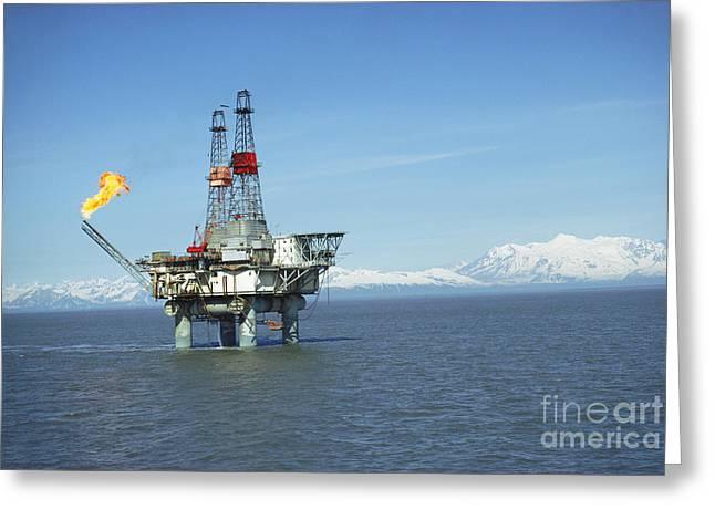 Off-shore Oil Greeting Cards - Offshore Oil Drilling Platform, Alaska Greeting Card by Joe Rychetnik