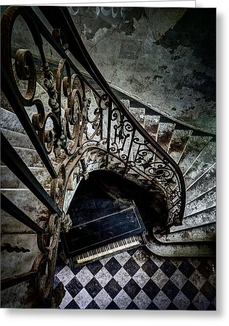 Stair Case Greeting Cards - Old piano in deserted castle - architectual heritage Greeting Card by Dirk Ercken